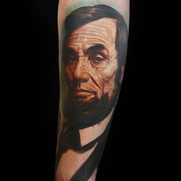 Male Cool Forearm Realistic President Abraham Lincoln Tattoo Ideas
