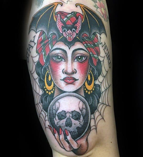 Male Cool Fortune Teller With Skull Crystal Ball Tattoo Ideas