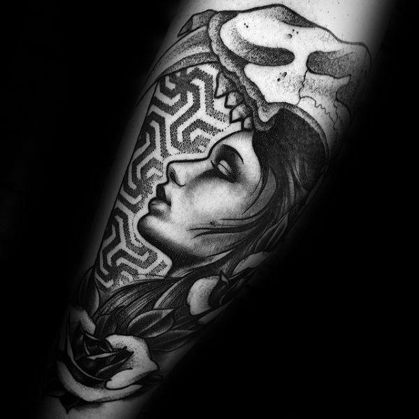 Male Cool Geometric Female Portrait With Animal Skull Forearm Tattoo Ideas