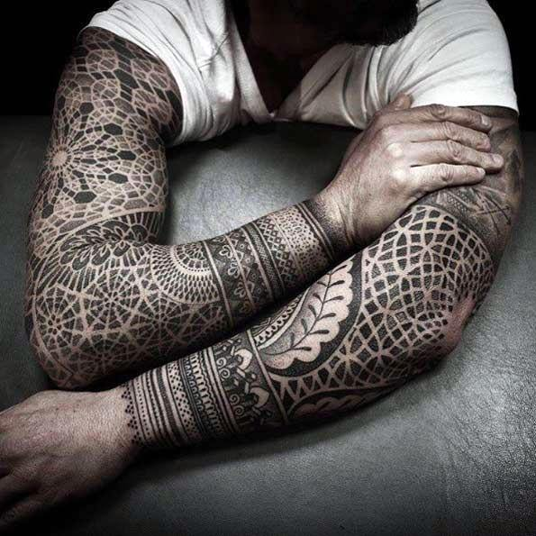 50 geometric tattoo sleeve designs for men complex ink ideas for Male sleeve tattoo ideas