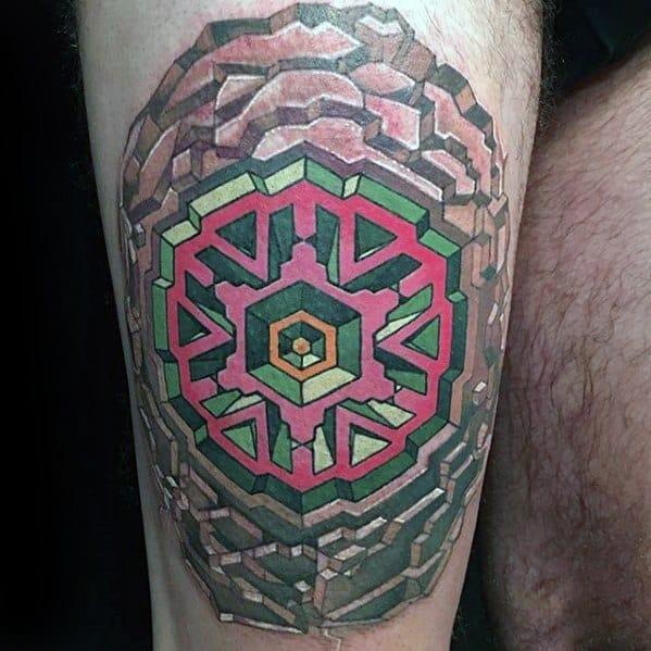 Male Cool Geometric Thigh 3d Leg Tattoo Ideas