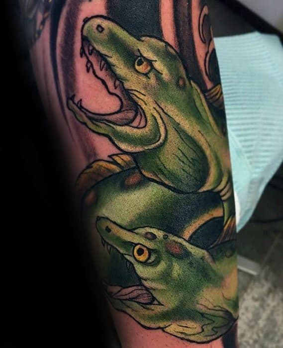 Male Cool Green Outer Forearm Eel Tattoo Ideas