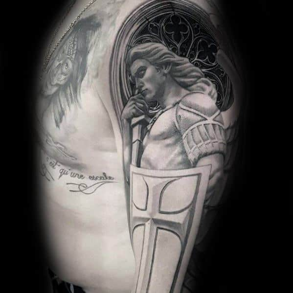40 angel statue tattoo designs for men carved stone ink for Guardian angel half sleeve tattoos