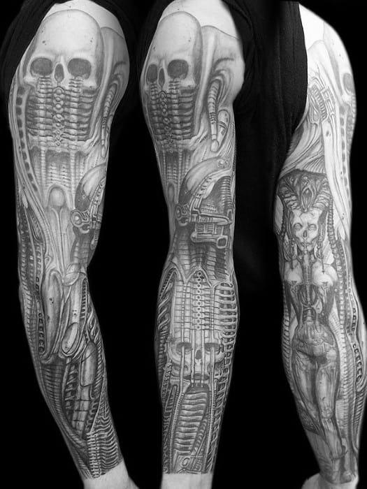 Male Cool Hr Giger Tattoo Ideas