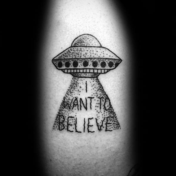 Male Cool I Want To Believe Tattoo Ideas Forearm