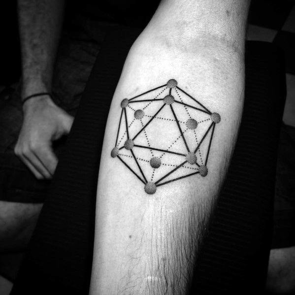 Male Cool Icosahedron Tattoo Ideas