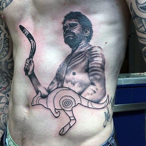 Male Cool Kangaroo Tattoo Ideas Rib Cage Side