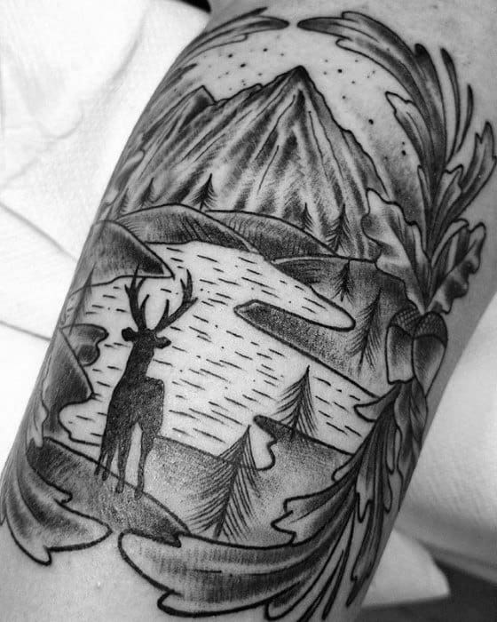 Male Cool Lake Tattoo Ideas On Leg