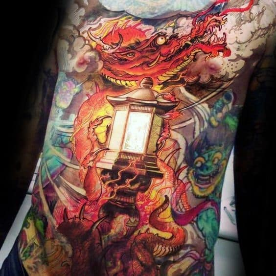 Male Cool Lantern Tattoo Ideas Full Chest