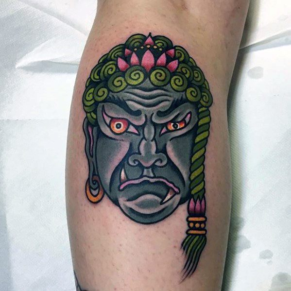 Male Cool Leg Calf Fudo Myoo Tattoo Ideas