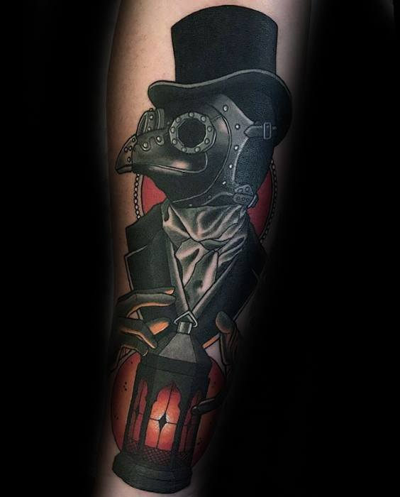 Male Cool Leg Plague Doctor Tattoo Ideas