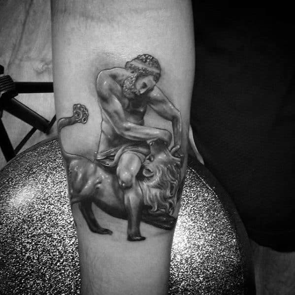 Male Cool Lion Statue Inner Forearm 3d Tattoo Ideas