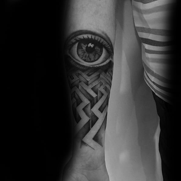 Male Cool Maze And 3d Realistic Eye Inner Forearm Tattoo Ideas