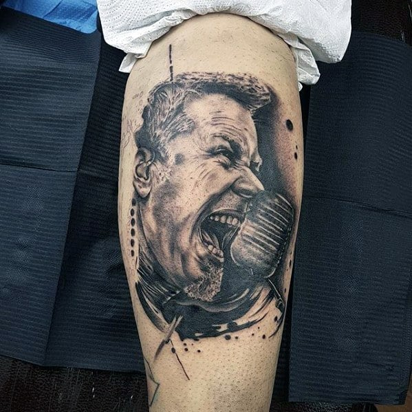 Male Cool Metallica Tattoo Ideas On Leg Calf