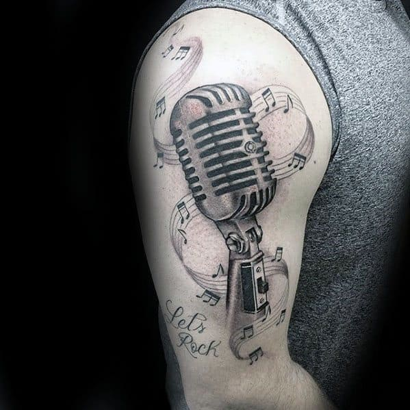 Male Cool Microphone Music Staff Arm Tattoo Ideas