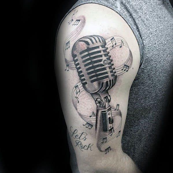 Male Cool Microphone Music Staff Arm Tattoo Ideas