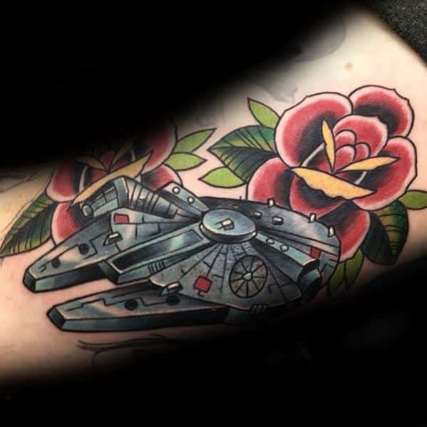Male Cool Millennium Falcon Tattoo Ideas