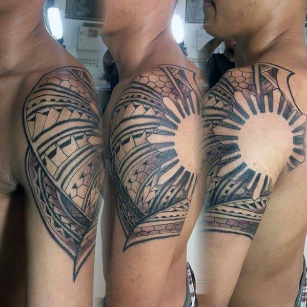 Male Cool Negative Space Quarter Sleeve Filipino Sun Tattoo Ideas