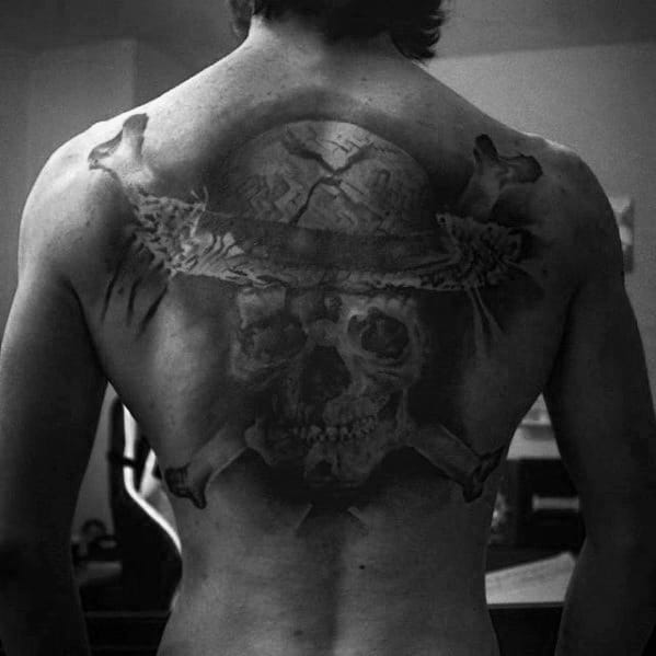 Male Cool One Piece Tattoo Ideas On Upper Back