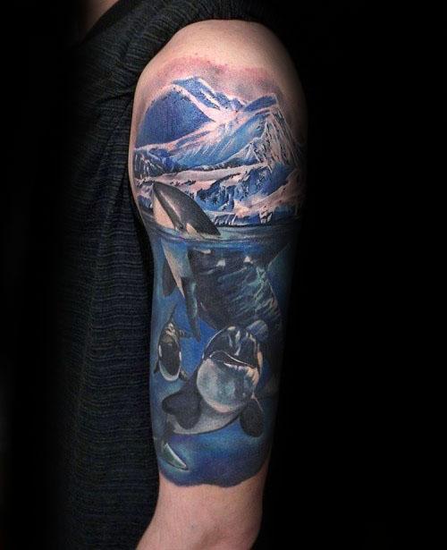 Male Cool Orca Half Sleeve Tattoo Ideas