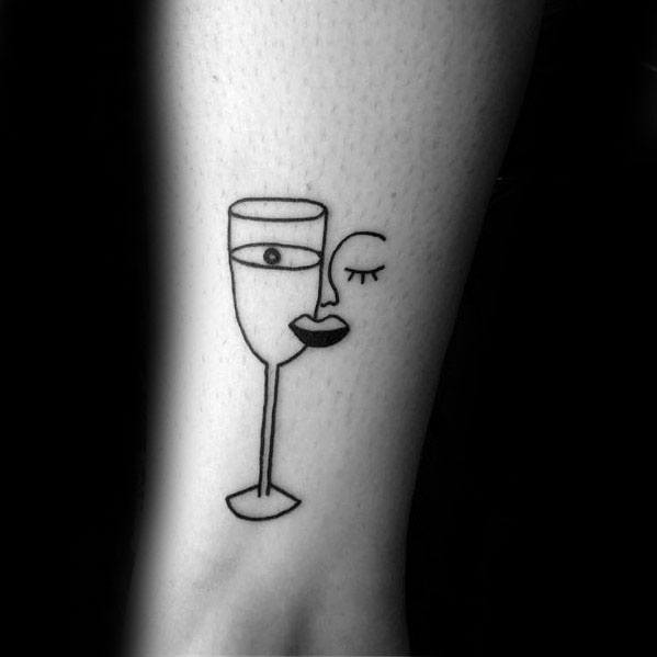 Male Cool Pablo Picasso Wine Glass Face Tattoo Ideas