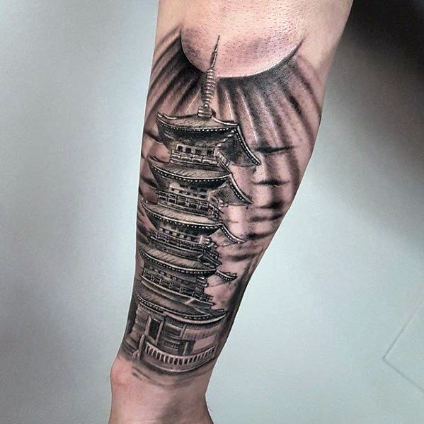 Male Cool Pagoda Tattoo Ideas