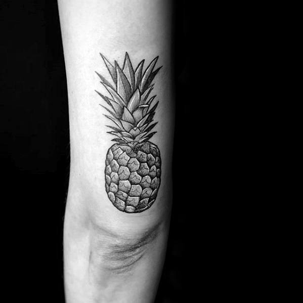 Male Cool Pineapple Tattoo Ideas On Outer Arm Tricep