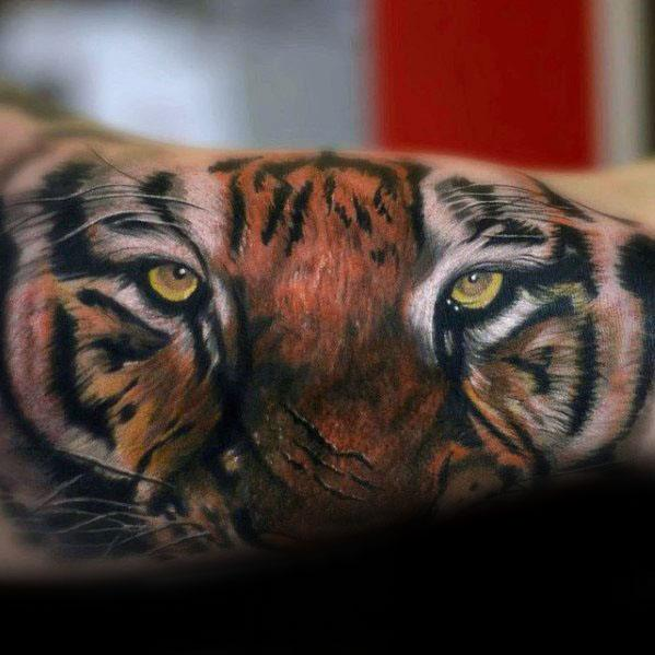 Male Cool Realistic 3d Arm Tiger Eyes Tattoo Ideas