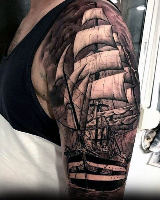 Male Cool Sailing Ship Sleeve Greatest Tattoo Ideas