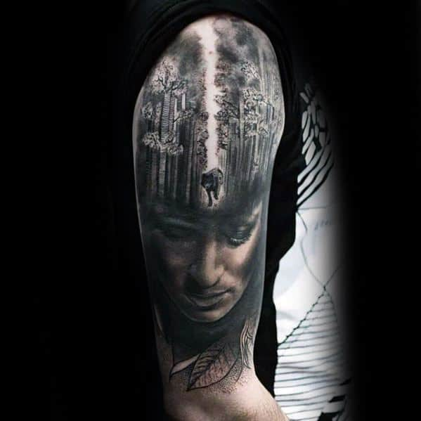 Male Cool Sick Wolf Walking In Forest With Portrait Morph Tattoo Ideas Half Sleeve