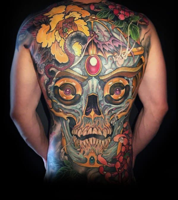 Male Cool Skull Back Tattoo Ideas