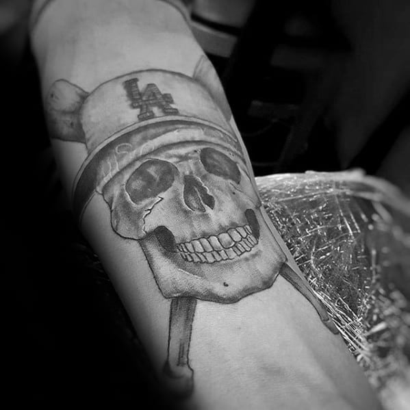 Male Cool Skull With Crossed Baseball Bats Dodgers Tattoo Ideas On Inner Forearm