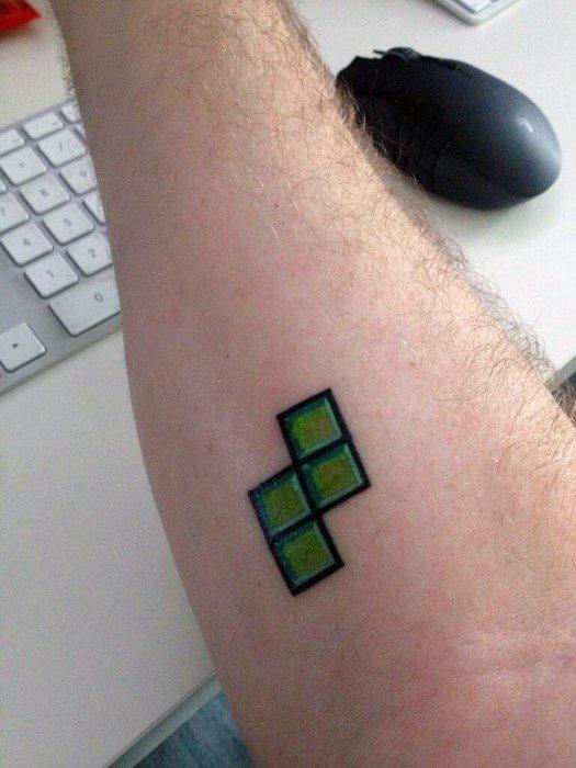 Male Cool Small Simple Forearm Tetris Tattoo Ideas