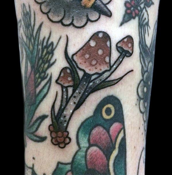 Male Cool Small Traditional Old School Mushroom Tattoo Arm Ideas