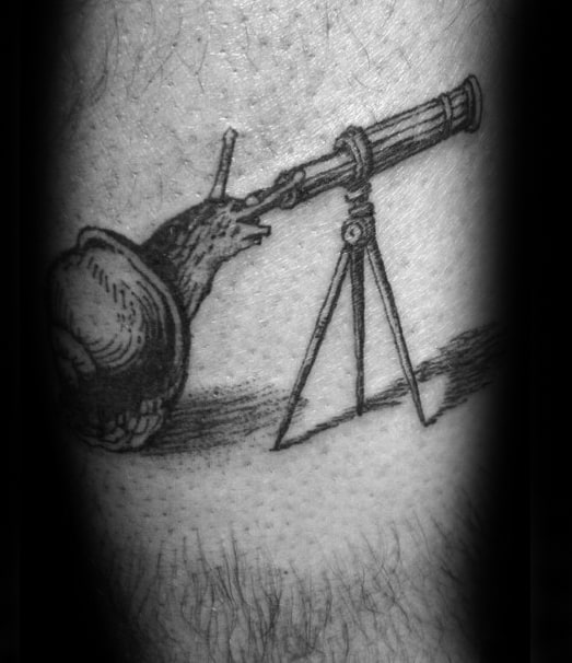 Male Cool Snail Looking Through Telescope Leg Tattoo Ideas