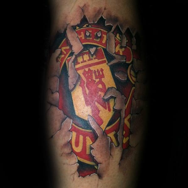 Male Cool Stone 3d Leg Calf Manchester United Tattoo Ideas
