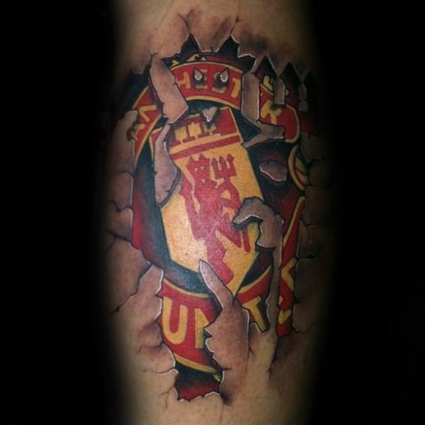 Male Cool Stone 3d Leg Calf Manchester United Tattoo Ideas