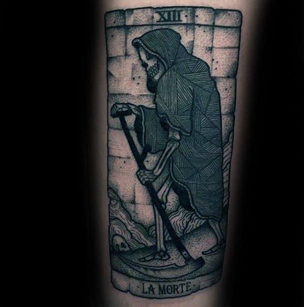 Male Cool Tarot La Morte Card Tattoo Ideas On Arm