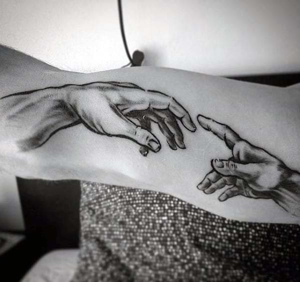 Male Cool The Creation Of Adam Tattoo Ideas Inner Arm Bicep