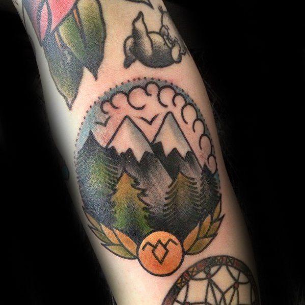 Male Cool Traditional Mountain Tattoo Ideas