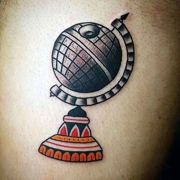 Male Cool Traditional Old School Death Star Globe Chest Tattoo Ideas
