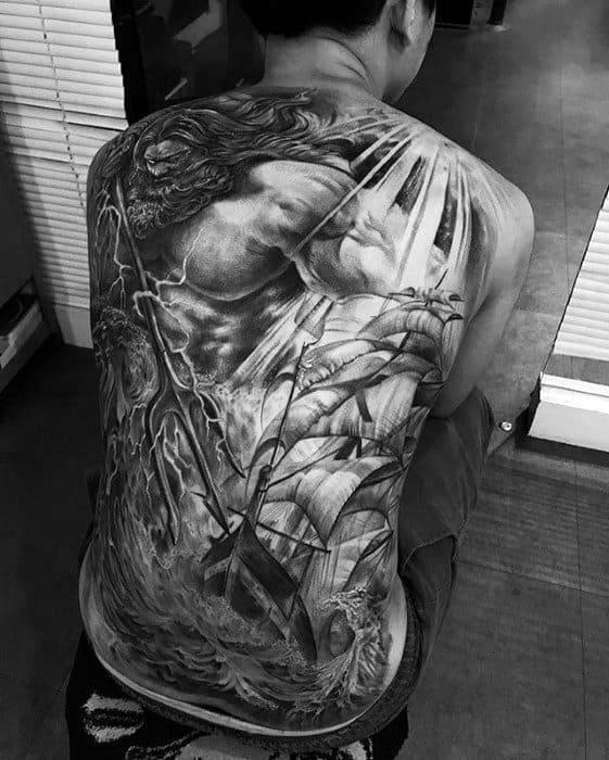 Male Cool Trident Tattoo Ideas Full Back