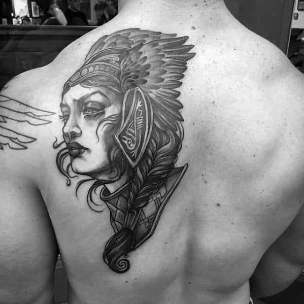 Male Cool Valkyrie Tattoo Ideas On Back