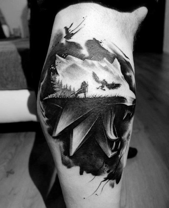 Male Cool Witcher Tattoo Ideas