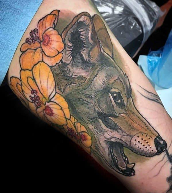 Male Coyote Tattoo Design Inspiration