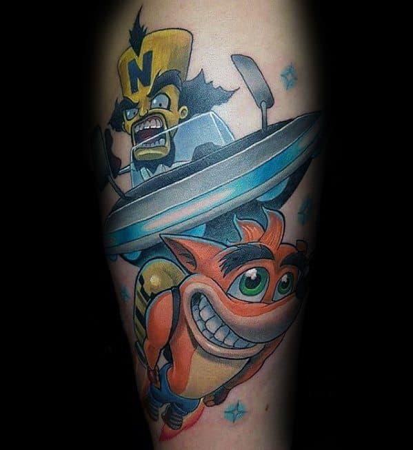 Male Crash Bandicoot Tattoo Ideas On Legs
