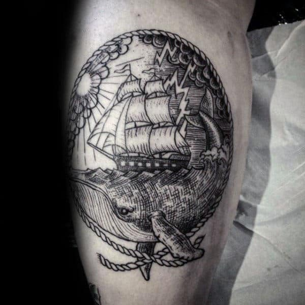 Male Crosshatch Whale Inner Arm Bicep Tattoos