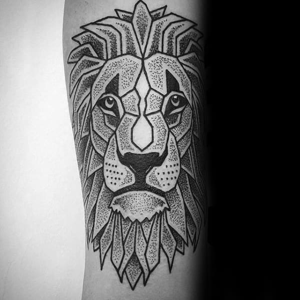 Male Cubism Lion Tattoo Design Inspiration
