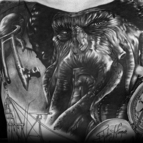 Male Davy Jones Chest 3d Tattoo Design Inspiration