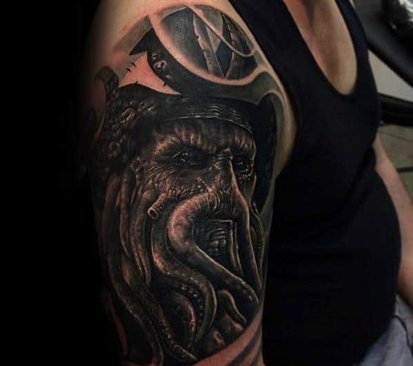 Male Davy Jones Half Sleeve 3d Tattoo Ideas